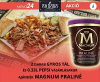 Ali Baba Gyros | 2 db Gyros tál + 2 db PEPSI 0,33L - 1 db AJÁNDÉK MAGNUM Praliné poharas jégkrém | Menu24.hu