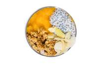 Salad Box Debrecen | CHIA PUDDING WITH PEACH, GRANOLA CRUNCH AND ALMOND FLAKES | Menu24.hu