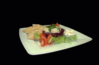 Leroy Cafe | Greek eggplant cream with roasted pita, tomatoes and feta | Menu24.hu