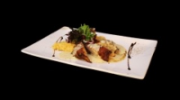 Leroy Cafe | Rolled chicken leg fillet stuffed with serrano and creamy goat cheese cream with mashed potatoes | Menu24.hu